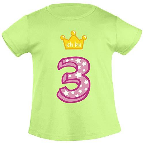 Ich Bin DREI Goldene Krone 3 Geburtstag Mädchen T-Shirt 96/104 (3-4J) Limettengrün - Kinder-goldenen Geburtstag