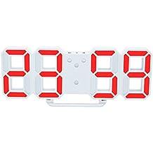 MagiDeal Reloj Digital de Pared LED Alarma Despertador Brillo de LED Ajustable Decoración de Hogar -