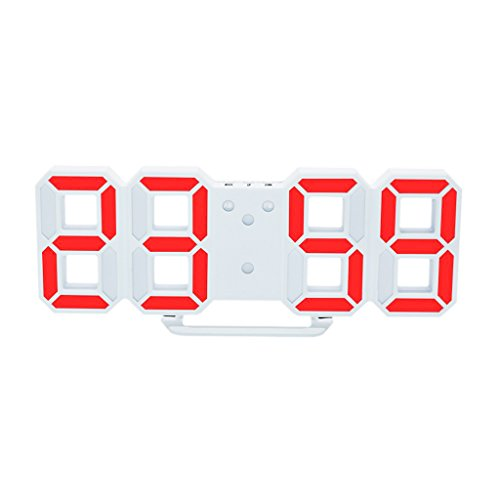 MagiDeal Reloj Digital de Pared LED Alarma Despertador Brillo de LED Ajustable Decoración de Hogar - naranja