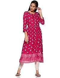 Global Desi Women's Synthetic Straight Kurta
