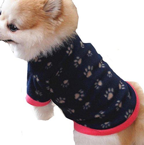 Sannysis Mascotas y Gatos Ropa de Abrigo Cachorro Ropa de Abrigo Ropa de Perro Camiseta de algodón Ropa Navidad Mascotas Ropa Perros pequeños Chihuahua Perros Accesorios Ropa (S, Armada)