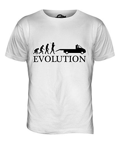 CandyMix Carro Attrezzi Evoluzione Umana T-Shirt da Uomo Maglietta Bianco
