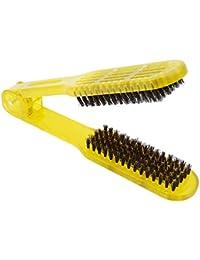ASIN Peine Salon Estilo Peluquería Bristle Hair Straightening Brush Doble Clamp Peine Mujeres Hombres PeineAmarillo