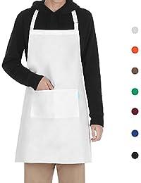 b64a0e0dd093 Esonmus Grembiule da cucina Adulti Grembiule da cucina in poliestere con  cintura regolabile per il collo