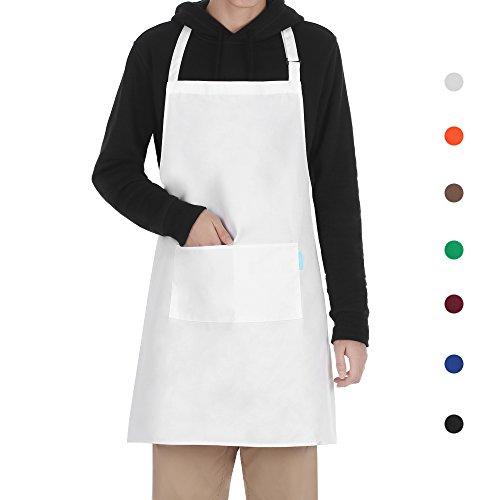 esonmus Schürze Kochschürze Küchenschürze Latzschürze in Verschiedenen Farben mit Verstellbarem Nackenband Weiß