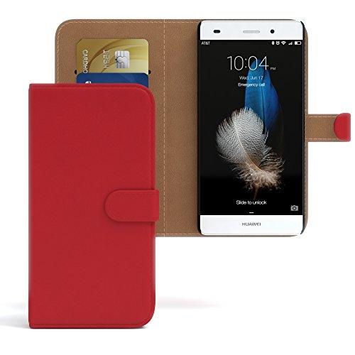 Huawei P8 Lite (2015) Hülle - EAZY CASE Premium Flip Case Handyhülle - Schutzhülle in Braun Rot (Book)