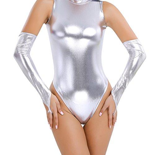 en Handschuhe aus Lackleder - Wetlook Metallic Optik Kostüm Silber One Size (Silber Stulpen Kostüm)