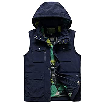 Sleeveless jacket male with hat outdoor fishing vest for Fishing vest amazon