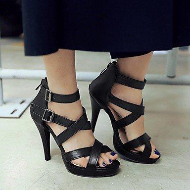 LvYuan Da donna Sandali Finta pelle PU (Poliuretano) Estate Autunno Footing Fibbia A stiletto Bianco Nero 10 - 12 cm Black