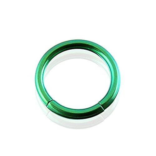 Segment Anneaux titanium solide grade 23 anodisé vert 14G(1.6MM)