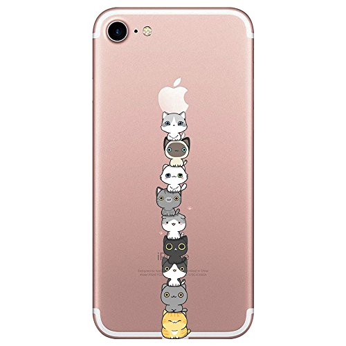 AIsoar Cover per iPhone 8 iPhone 7, Custodia per iPhone 8/iPhone 7 Ultra Sottile e Anti-Graffio, Cover Ultra Slim per iPhone 8 iPhone 7 Anti Scivolo(4.7 Pollici) (Gatto)