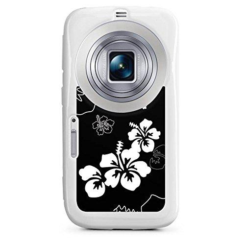 Samsung Galaxy K Zoom Hülle Silikon Case Schutz Cover Blumen Schwarz Weiß Muster