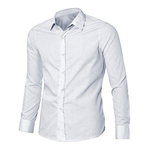 Rcool Männer stilvolle beiläufige lange Hülse drehen-unten Kragen nehmen passende T-Shirts Weiß