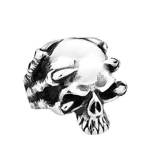 Amody Anillos Punk gótico Cabeza de cráneo de Garra Gigante Plata Anillo de Acero Inoxidable para Hombre Tamaño 15