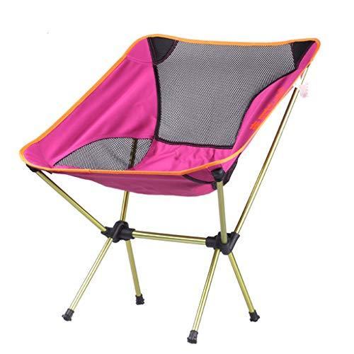 SMBYLL Chaise Pliante d'extérieur, Chaise de Plage Portable Ultra légère avec Chaise de pêche pour Le Dos, Aluminium, Aviation, Rouge Chaise Pliante