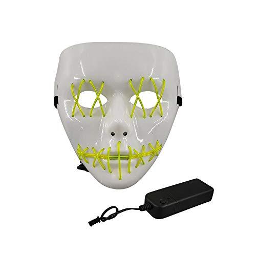 Earthily Halloween Maske LED Leuchtmaske Für Festival Cosplay Halloween Kostüm (EL Cold Light, Fluorescent Green/Dark Blue) Positive