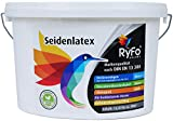 RyFo Colors Seidenlatex 12,5l (Größe wählbar) - hochwertige zertifizierte Profi Wandfarbe, seidenmatte Innen-Dispersion, Latexfarbe, weiß, scheuerbeständig, Nassabriebklasse 1, lösemittelfrei