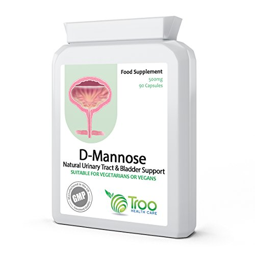 D-Mannose 500mg 90 Capsules - Urinary Tract & Bladder Support - UK Manufactured to GMP Standard for Consistent High Quality