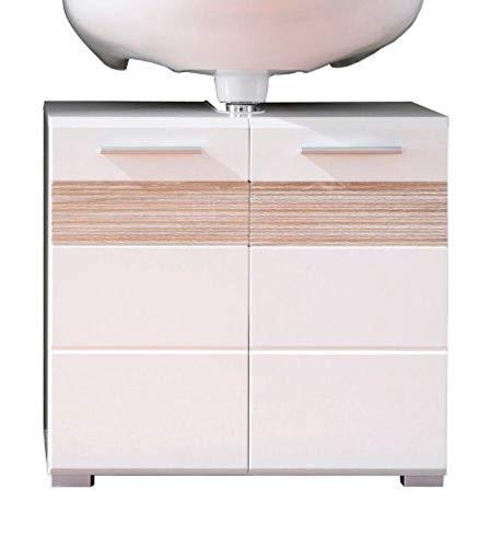 Trendteam 1280-301-41 Badezimmer Waschbeckenunterschrank Unterschrank Mezzo, 60 x 56 x 34 cm in Weiß Hochglanz, Absetzung Eiche Sägerau Hell Rillenstruktur Dekor mit viel Stauraum