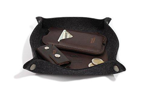 Pack & Smooch Taschenleerer Schlüsselablage Handyablage 100% Merino Wollfilz Pflanzlich gegerbtes Leder Anthrazit/Dunkelbraun