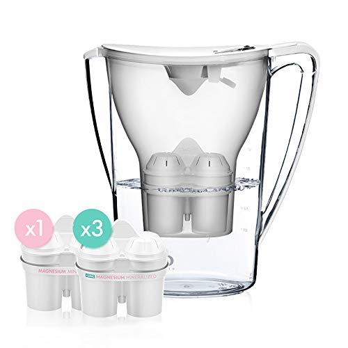 krug, sauberes Wasser 1,5 l Zink-Magnesium-Ionen-Filter, tragbarer Haushaltswasserreiniger,Weiß ()
