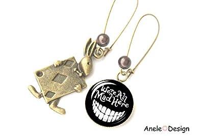 Boucles d'oreilles Wonderland, chat Alice, we are all made here, dépareillées asymétriques noir et bronze, cabochon
