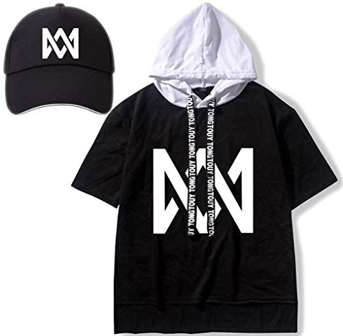 Marcus & Martinus Kapuzen-T-Shirt Baseball Kappe Geschenk Logo Konzert Musik- Mode Kittel Schwarz Stickerei Visier Süß/G/Einheitlicher Code -
