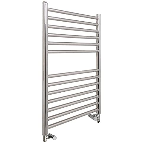 Braddan (SBBPDF) Stainless Steel Dual Fuel Electric Heated Ladder Towel Rail, Element and Valves. A Bright Polished Designer Ladder Bath and Shower Room Warmer Rack Offering High Heat Output Crossbars, 800 x 550