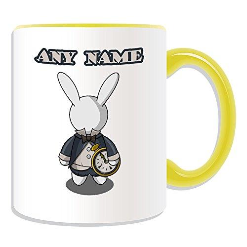 chenk-Weiß Kaninchen Tasse (Märchen Design Thema, Farbe Optionen)-alle Nachricht/Name auf Ihre einzigartige-Alice im Wunderland, keramik, gelb ()