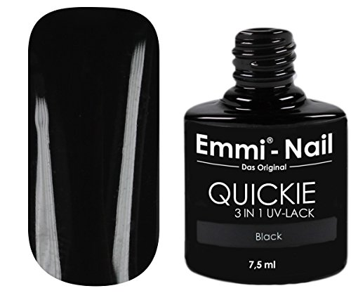 Emmi-Nail UV-Nagellack in glänzendem Schwarz, ohne Schwitzschicht, kein Unter- und Überlack...