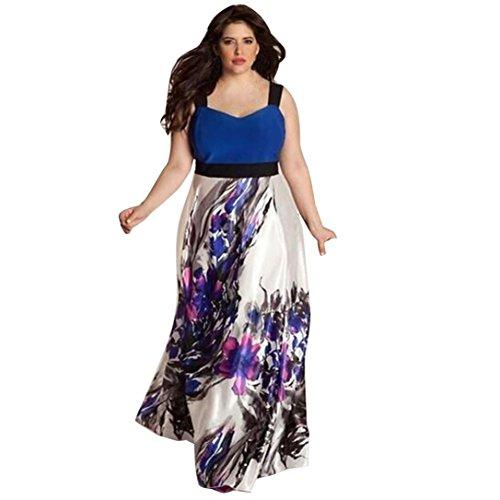 Damen Kleid Yesmile Frauen Plus Größe Sexy V Ausschnitt Floral Maxi Abend Boho Strandkleid Halb Ärmel Spitzenkleid Langen Prom Kleid Mode Eleganten Böhmischen Stil Kleid L-5XL (Blau, 2XL) (Maxi-kleid Plus)