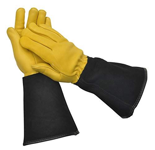 WAGNER Gold Leaf Gloves - TOUGH TOUCH - Damen - Gartenhandschuhe / Rosenhandschuhe der Extraklasse / Hirschleder und Rindsleder / stachelresistente Stulpe / RHS Auszeichung - 25305100 - Der Touch