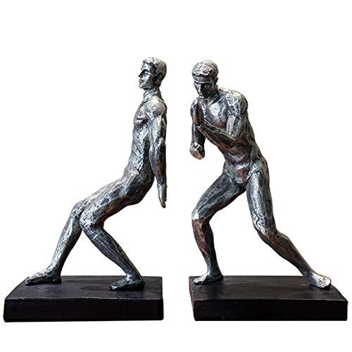 zyhss Efecto Plateado Resina Empujando Hombres Estatua Esculpida Estatuillas Sujetalibros Escultura Ornamental Sujetalibros para Estantes Biblioteca Escuela Oficina Estudio En Casa