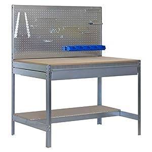 Banco de trabajo BT2 con cajón Simonwork Galva/Madera Simonrack 1445x1210x610 mms – Banco de trabajo con panel – mesa de bricolaje 600 Kgs de capacidad por estante