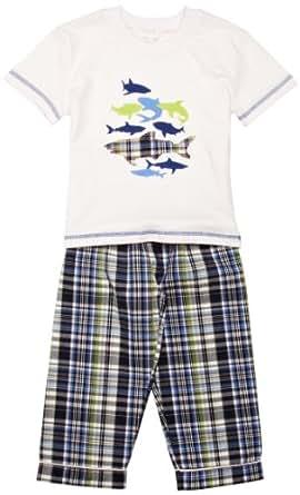 Mini Vanilla Shark Boy's Pyjamas Blue Check 1-2 Years