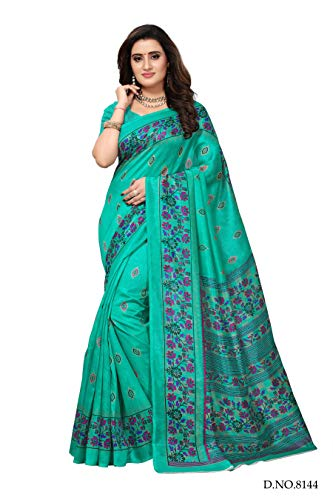 Fabwomen Sarees Floral Print Turquoise And Turquoise Coloured Cotton Silk Fashion Party Wear Women\'s Saree/Sari With Blouse Piece.