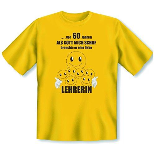 """originelles und witziges T-shirt zum 60. Jahre Geburtstag Farbe: gelb """" ...vor 60 Jahren ALS....liebe LEHRERIN"""" Gelb"""