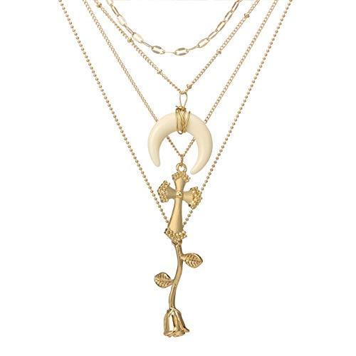 Schmuck Singapur Kostüm - Blisfille Halskette Damen Gold Ketten Damen Modeschmuck Vergoldet Rose Rosenkreuz Halskette Vierreihig Multilayer Einstellbar 56 cm