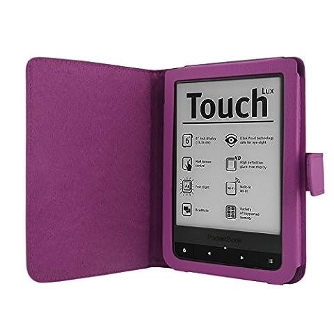Navitech Violet Kindle Housse/Étui en Cuir PU avec fermoir magnétique pour PocketBook Touch Lux 2 + PocketBook Touch Lux 3