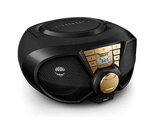 Philips PX3115G CD-Player Mini Stereoanlage Kompaktanlage Boombox CD MP3 AUX USB Radio schwarz-Gold 5W Netz- und Batteriebetrieb (Philips-cd-mp3-player)