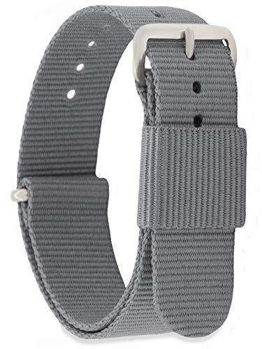 MOMENTO Damen Herren NATO Nylon Ersatz Uhren-Armband Strap mit Edelstahl-Schliesse in Silber und Nylon-Armband in Grau 16mm (Navy Leder Uhrenarmband)