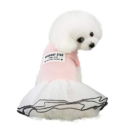 Robemon Kleid, für Kleine Hunde Und Katzen Tutu Kleid Hochzeit Party Pet Puppy Gestreifter Brief Druck Hundekleider Fasching