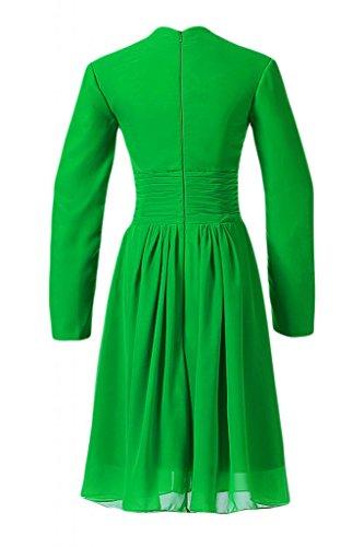 Sunvary Liebling V-Ausschnitt Abendkleider Knielang Chiffon Cocktailkleider Brautjungfernkleider Partykleider Grün