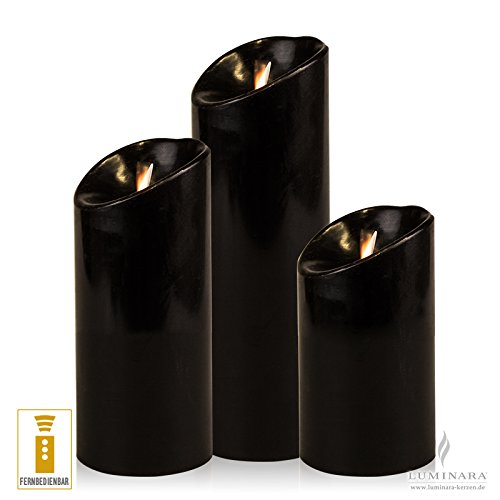 Luminara velas LED conjunto de 3 negro en ˜ 8 cm liso con mando a distancia. Tamaño: en ˜ 8 cm x altura 23, 18 y 13 cm, color: negro, Superficie: lisa, incluye mando a distancia!