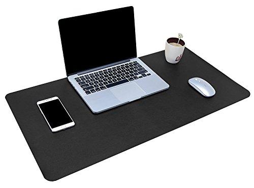 YSAGI Multifunktionale Schreibtischunterlage, ultradünn, wasserdicht, PU-Leder, Mauspad, zweiseitig nutzbar, für Büro/Zuhause 90 x 43 cm Schwarz