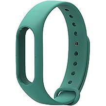 LuckWin Correa de Recambio para XIAOMI Wireless MI BAND 2 Brazalete Pulsera Inteligente Extensibles Coloridos Impermeables ( Verde )