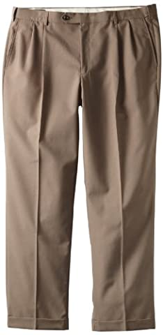 Bert Pulitzer Men's Big-Tall Solid Suit Separate Pleat Front Pant, Tan, 40x30