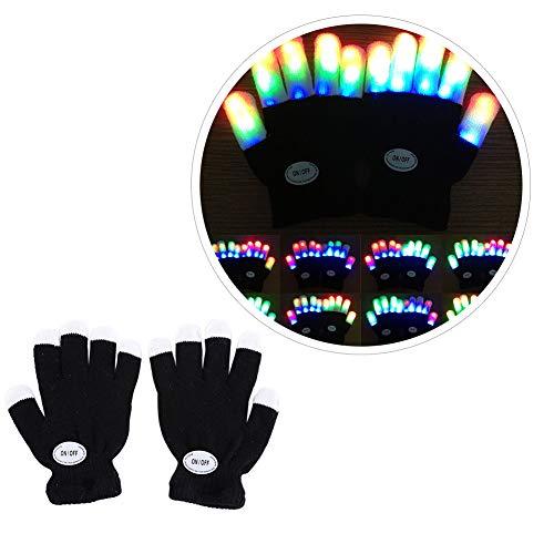 URMAGIC LED Leuchtende Handschuhe blinkende Bunte Finger Gloves Spielzeuge Skeleton Tanzen Regenbogen Kinder Mädchen Junge Fingerhandschuhe Leuchtend Fingerspitzen Weihnacht Geschenke Geburtstag