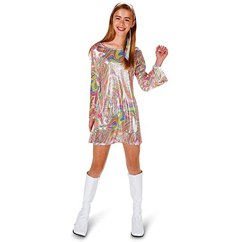 Dream Weavers Go Go Dancer Girl Kinder Mädchen Teen Kostüm Glitzer Kleid Fasching Halloween Karneval (152/164)