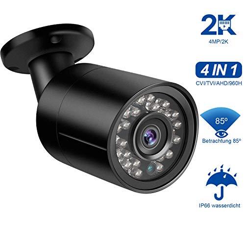Dericam 4MP HD 2K Bullet-Überwachungskamera für den Außenbereich, CVI/TVI/AHD/960H-Analogkamera, IP66-Metallgehäuse, 24LEDs/25fts Nachtsicht, 85° Betrachtungswinkel, PAL-Format, Schwarz (Standalone Hd-dvr)